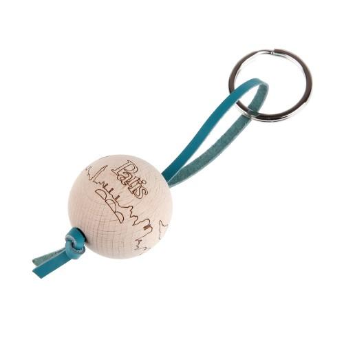 porte clé paris en bois turquoise mazzarino
