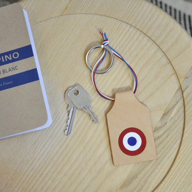porte cles cuir cocarde drapeau france mazzarino