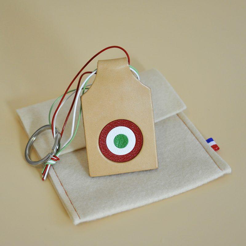 porte cles cuir cocarde drapeau italie mazzarino