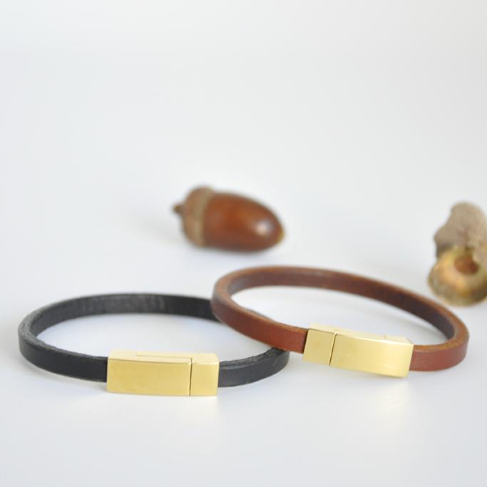 bracelet cuir felicita marron doré mazzarino